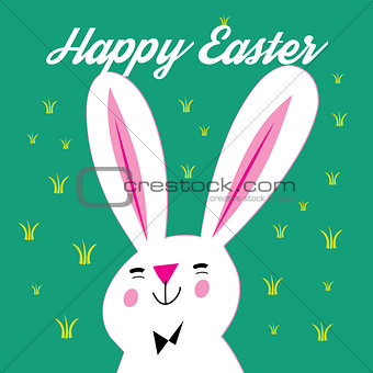 Greeting card with Easter and bunny