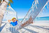 Boy relaxing on a beach.