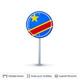 Congo flag isolated on white.