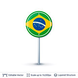 Brazil flag isolated on white.