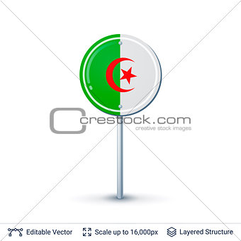 Algeria flag isolated on white.