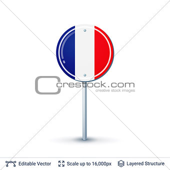 France flag isolated on white.