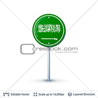 Saudi Arabia flag isolated on white.
