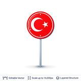Turkey flag isolated on white.