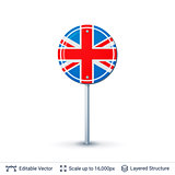 United Kingdom flag isolated on white.