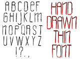 Modern Handwritten Thin Font. Vector abstract alphabet.