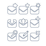 Mail icon set. Linear icons.