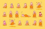 Set kit collection sticker emoji emoticon emotion vector isolated illustration happy character sweet cute little Buddha Buddhist monk