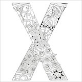 Letter X for coloring. Vector decorative zentangle object