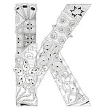 Letter K for coloring. Vector decorative zentangle object