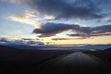 Sunset on altiplano mountains road in sud Lipez reserva, Bolivia