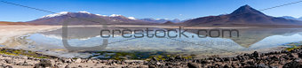 Clear altiplano laguna panoramic in sud Lipez reserva, Bolivia