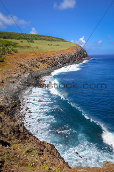 Cliffs on Rano Kau volcano in Easter Island