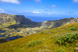 Rano Kau volcano crater in Easter Island