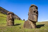 Moais statues on Rano Raraku volcano, easter island
