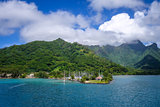 Moorea island harbor and pacific ocean lagoon landscape