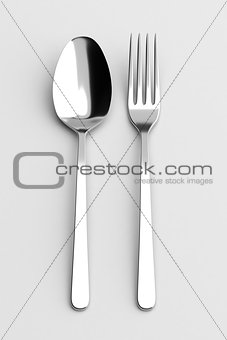 Fork and spoon silverware