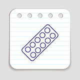 Doodle pills blister bottle icon