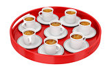 Plastic tray with coffee cups