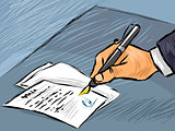 Businessman signing act