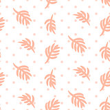 Pink palm leaves on polka dot white seamless vector pattern.