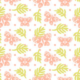 Pink palm leaves and butterflies seamless vector pattern.