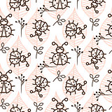 Ladybug and line pink leaves on white seamless vector pattern.