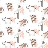 African wild animals kid seamless pattern vector.