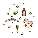 Cute baby line icon vector illustration.