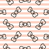 Bowknots on striped pink and white seamless vector pattern.