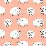 Baby sheep girlish cute seamless vector pattern.
