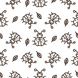 Ladybug and outline leaves on white seamless vector pattern.