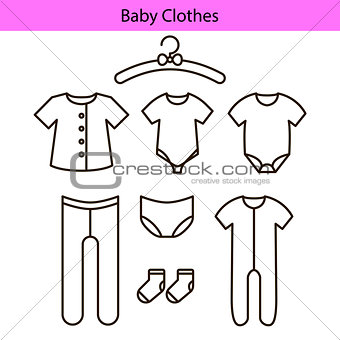 Baby clothes vector line icons.