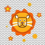 Cute lion head t-shirt vector print design.