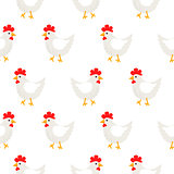 White hen rural seamless vector pattern.