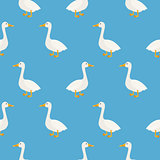 Blue cute geese seamless vector pattern.