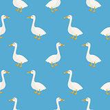 Blue cute geese seamless vector pattern.