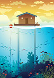 Coral farm - house on stilts and coral reef.