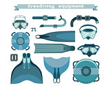 Set, collection of freediving equipment.