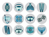 Set of freediving equipment icons.