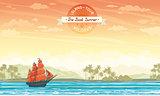 Old sailboat and island. Summer card.