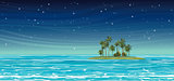 Coconat island in the sea at night. Vector seascape.