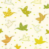 Seamless pattern with hummingbird.