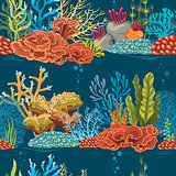 Underwater seamless pattern with coral reef.
