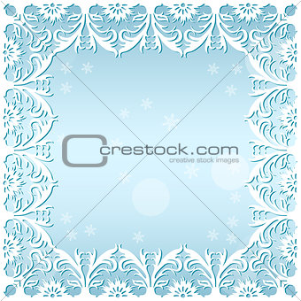 carved frame frosty pattern with snowflakes
