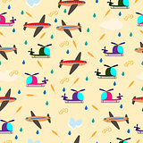 Kids seamless vector pattern with airplanes and helicopters