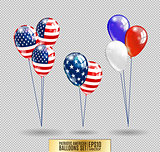 US Patriotic balloons. Colored Balloons specially for the Fourth of July. Memorial Day. Martin Luther King Day. Country National Colors.