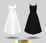 Women's dress mockup collection. Dress with long pleated skirt. Realistic vector illustration. Fully editable handmade mesh. Festive dress without sleeves. White, gray and black variation.