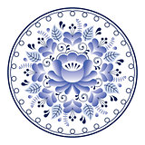 Russian folk art pattern - Gzhel ceramics style, blue floral design