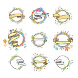 Rustic hand drawn flower elements and ribbons set. Vector floral doodles, branches, flowers, laurels and frames.